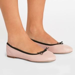 JCrew Evie Ballet Flats in Leather Iced Peach pink